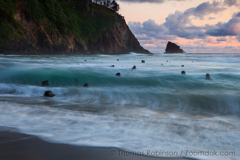 A wave crests around the stumps of the Ghost Forest during sunset in Neskowin, Oregon. <br /> <br /> Though nobody knows the origins of the ghost forest, it is theorized that sometime within the last 2,000 years a cataclysmic earthquake caused this chuck of forest to drop to sea level. Then preserved by sand and mud, these petrified stumps are around today rather than naturally eroding.