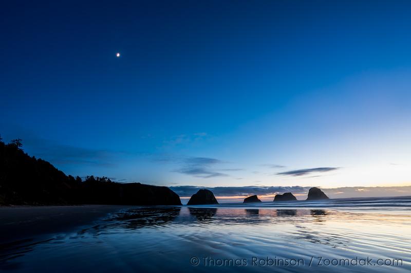 Crescent Moon Over Crescent Beach