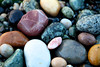 An assortment of colorful rocks decorates the beach at Birch NBay near Bellingham, Washington.