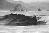 Cannon Beach Wave Curl in Black and White