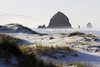 The evidence of a rare hail storm adorns the dunes one winter morning in Cannon Beach, Oregon.