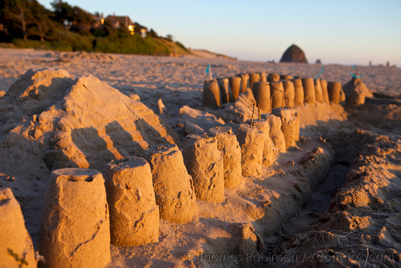 A row of sandcastles catches the golden sunset lighting on the beach in Cannon Beach, Oregon.