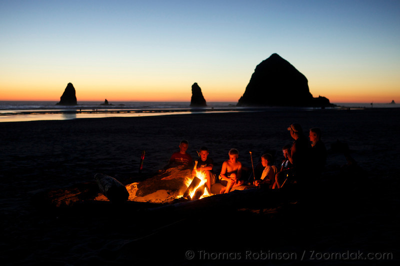 Family Bonfire, Cannon Beach, Oregon