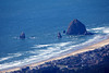 Haystack Rock and Cannon Beach as seen from an aerial point of view from the top of Indian Chieftain peak.