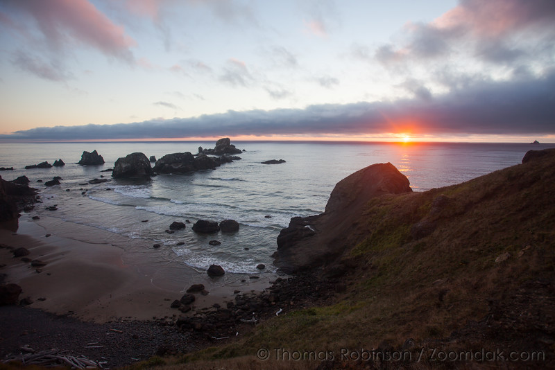 Sunset Over Hidden Cove at Ecola Point