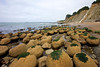 Named for the circular shape of these stones is Bowling Ball Beach near Mendocino, California.