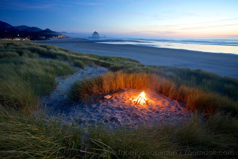 Evening Beach Bonfire, Oregon Coast
