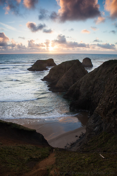 Murre Rocks Vertical Sunset