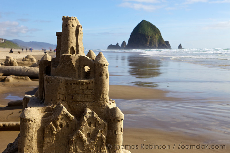 The annual sandcastle day contest in Cannon Beach, Oregon attract visitors from near and far to see the the creation and eventual destruction of the sand castles. Here, a literal rendition of a sand castle lasts the day on the shore.