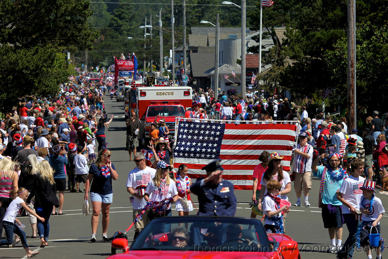 The 4th of July parade rolls through downtown Cannon Beach full of American flags, beads, and candy. Merica!