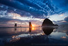 Haystack Rock Oregon Coast Sunset