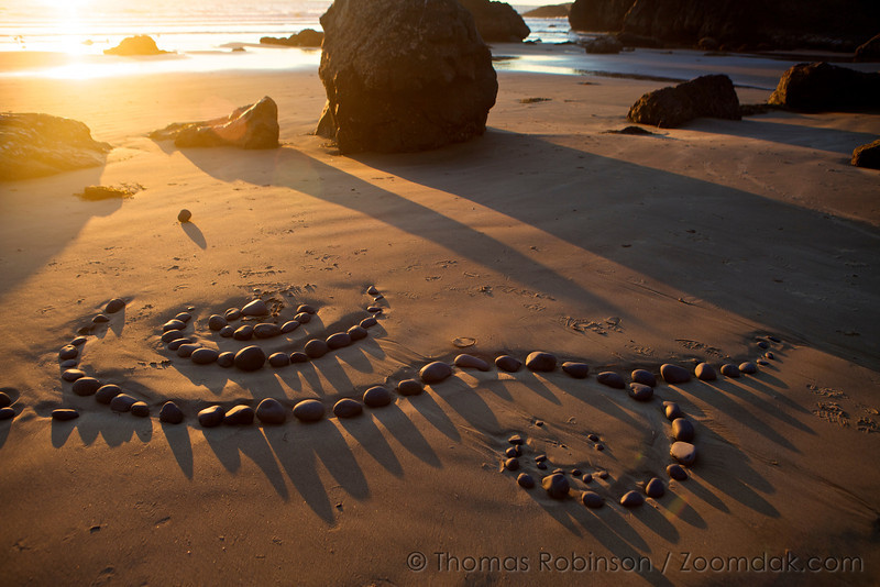 Swirls of rocks are all that remains of an piece of land art (in the style of Andy Goldsworthy) on Ecola Beach.