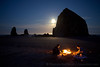 Beach Bonfire at Haystack Rock