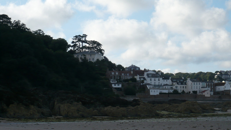 "view back from the beach - one of the buildings behind is where Jim Bergerac used to drink in most of the episodes of ""Bergerac"". (80's detective series filmed in Jersey)"
