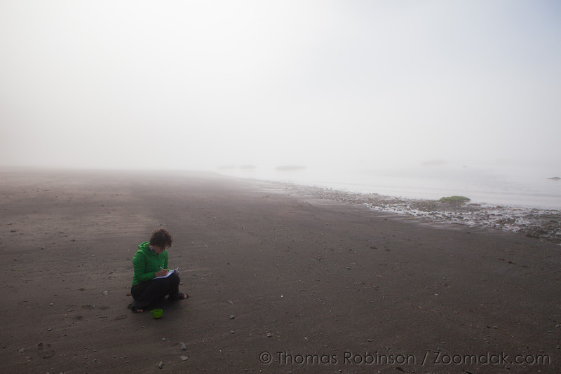 Beach Writer in the Fog
