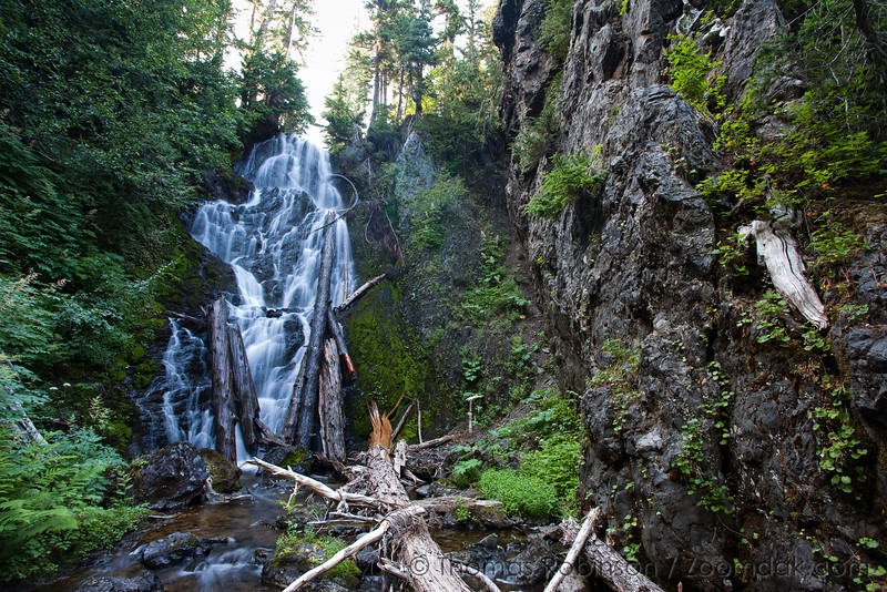 Near Upper Lena Lake in the Olympic National Park, the outflow creates a giant cascading waterfall.