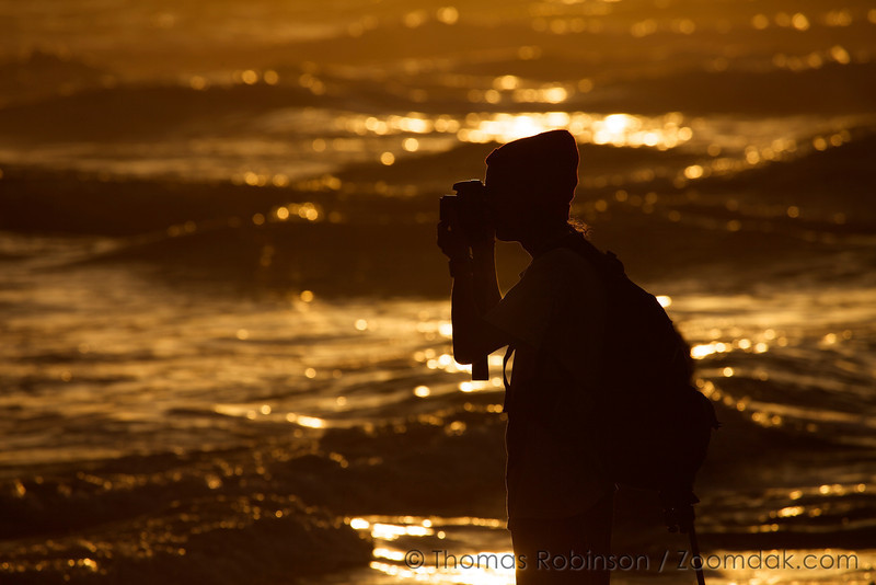 Keaton Hudson photographs the beach at sunset in Neskowin, Oregon.