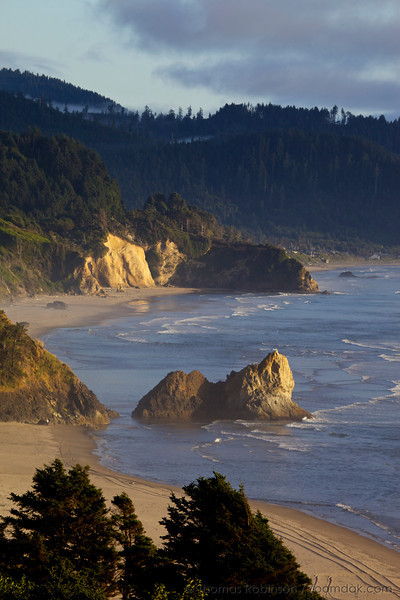 The view south down the Oregon Coast looking over Arcadia Beach and Hug Point State Park.