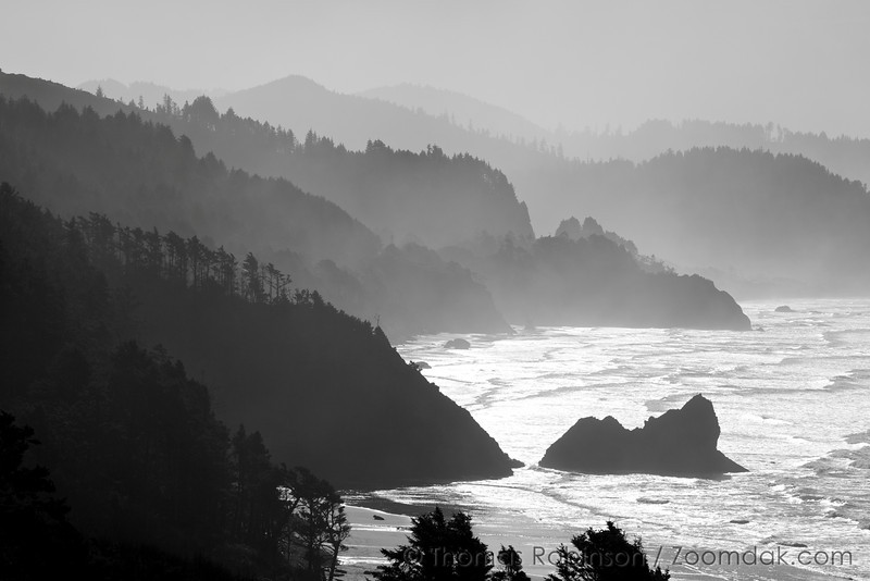 The monochromatic view south down the Oregon Coast looking over Arcadia Beach and Hug Point State Park.