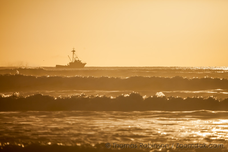 Offshore Boat at Sunset