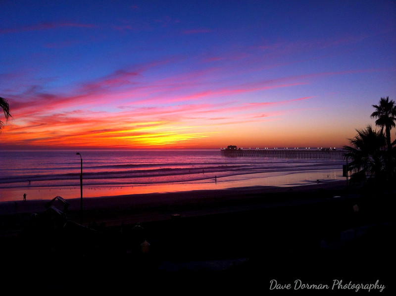 Colorful sunset in Oceanside, CA.