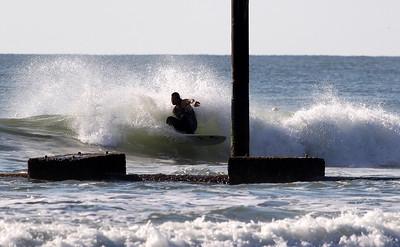 Scott killing it at the pipe.  Carolina Beach, NC 10-18-2014 Pleasure Island