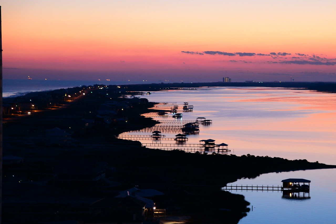 Gulf of Mexico on left, Little Lagoon on right, looking down toward Mobile Bay from Penthouse 16 Lagoon Tower