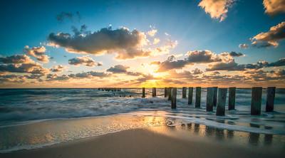 Pilings At Naples Beach Mega Sunset
