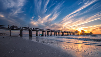 Naples Beach Sunset Surfer