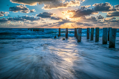 Naples Beach Swirl at Old Pilings