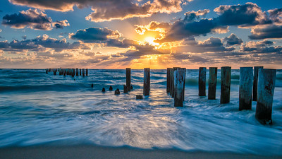 Naples Beach Pilings Sunset
