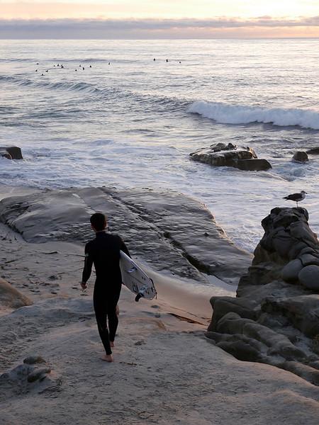Surfer Entering Water