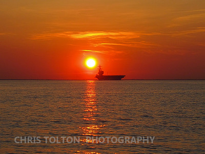 USS Bush Hampton Roads Sunset