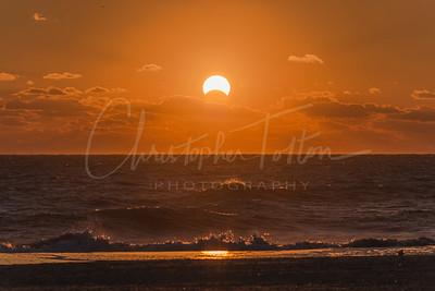Solar eclipse sunrise