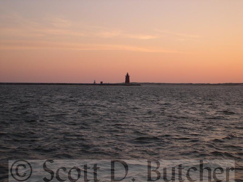 Delaware Bay - Delaware Breakwater East Lighthouse; Point of Refuge Lighthouse in distance.