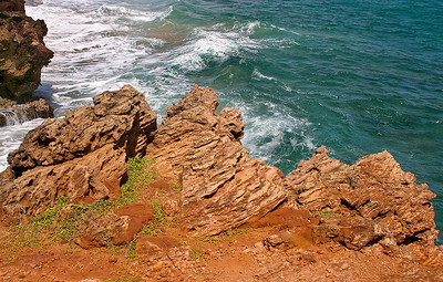 Lithified sand dune deposits along cliffs overlooking Shipwreck Beach, near Makawehi Point, south Kaua'i.