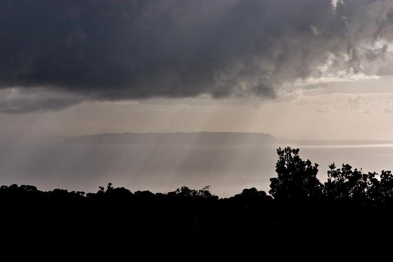 The island of N'ihau viewed from the highlands of Na Pali State Park, west Kaua'i.