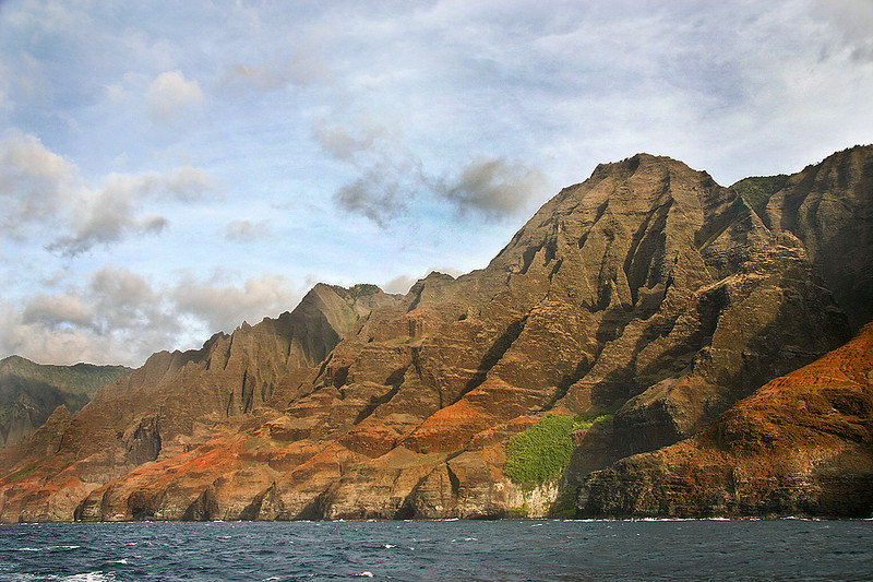 The deeply weathered cliffs of the headlands of the Napali Coast, northern Kaua'i.