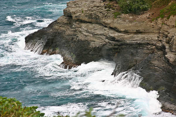 A shallow sea cave at the base of the cliffs near Kilauea Lighthouse, north Kaua'i.