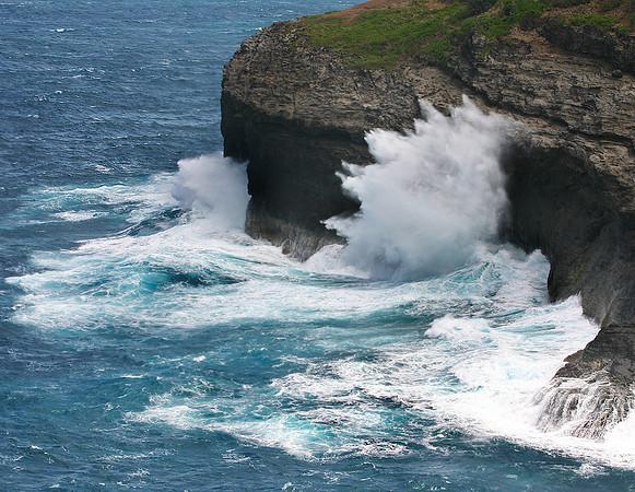 Wave-battered headland at Kilauea National Wildlife Refuge, northern Kaua'i.