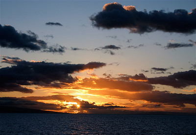 Sunset over the neighbor island of Lana'i. Taken during the ferry crossing from Manele Bay to Ma'alaea Bay.
