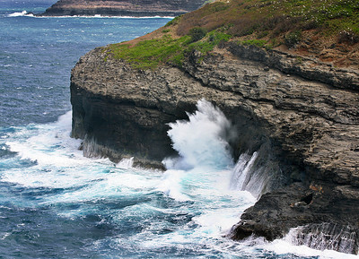 Wave-battered headland at Kilauea National Wildlife Refuge, northern Kaua'i.