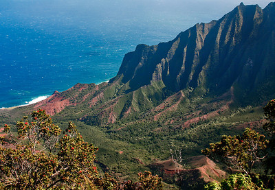 View of the Na Pali Coast from atop Kalalau Lookout, northwest Kaua'i.