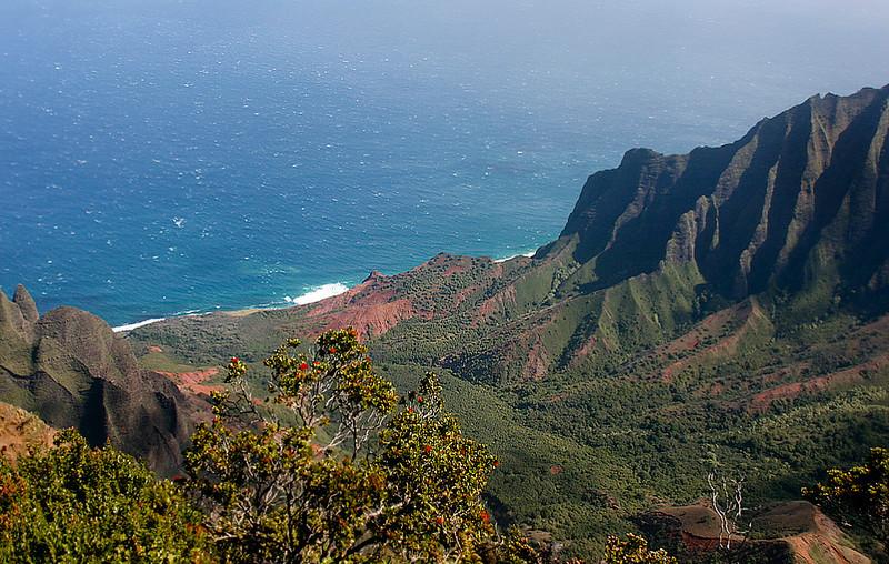 View of the Na Pali Coast from atop Kalalau Lookout, northwest Kaua'i.