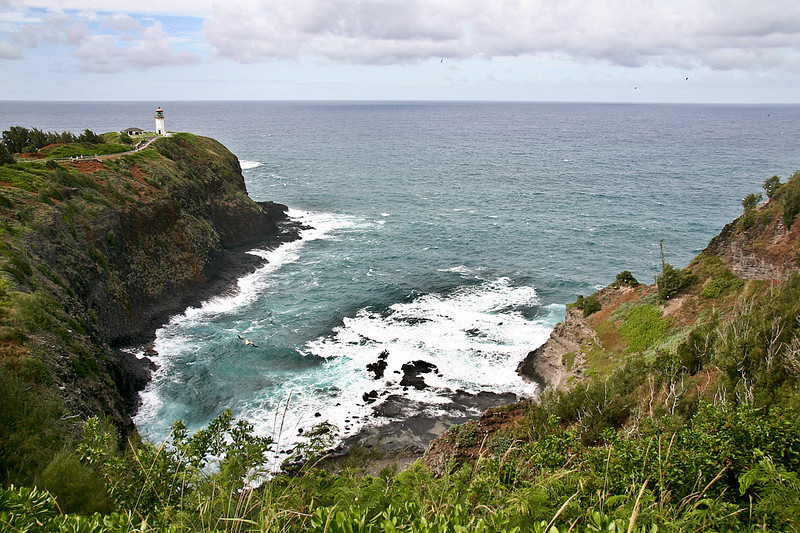 Inlet formed by the collapse of a lava tube. Kilauea Lighthouse, north Kaua'i.