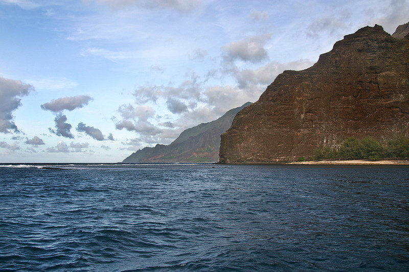 Beach and rocky promintory at Nuilolo Bay, Napali Coast, north Kaua'i.