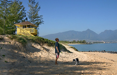 A dog and his friend out for an early-morning walk near the Lifeguard Tower on Kanaha Beach, north Maui. In the hazy distance is the skyline of the West Maui Mountains.