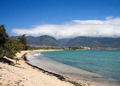 A view of the West Maui Mountains from the shoreline at Kanaha Beach, near Kahului Harbor, north Maui.