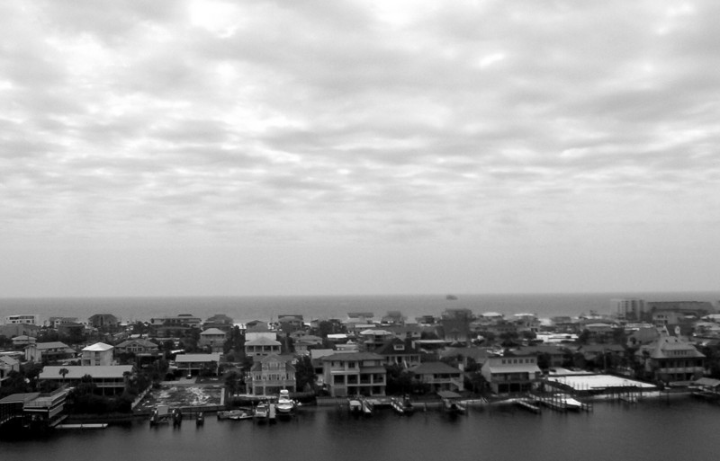 View of Destin Harbor (B/W)