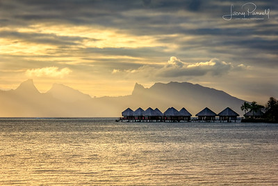 Tahitian Huts at Sunset